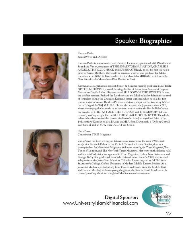 27 Speaker Biographies Kamran Pasha ScreenWriter and Director Kamran Pasha is a screenwriter and director. He recently par...