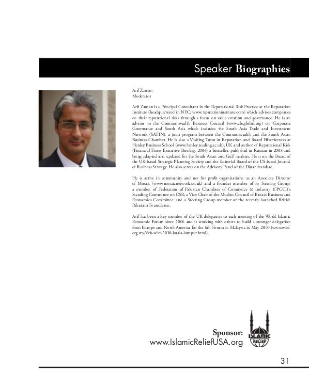 31 Speaker Biographies Arif Zaman Moderator Arif Zaman is a Principal Consultant in the Reputational Risk Practice at the ...