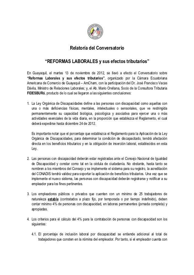 """Relatoría del Conversatorio            """"REFORMAS LABORALES y sus efectos tributarios""""En Guayaquil, el martes 13 de noviemb..."""