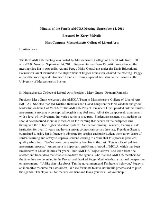 Minutes of the Fourth AMCOA Meeting, September 14, 2011Prepared by Kerry McNallyHost Campus: Massachusetts College of Libe...