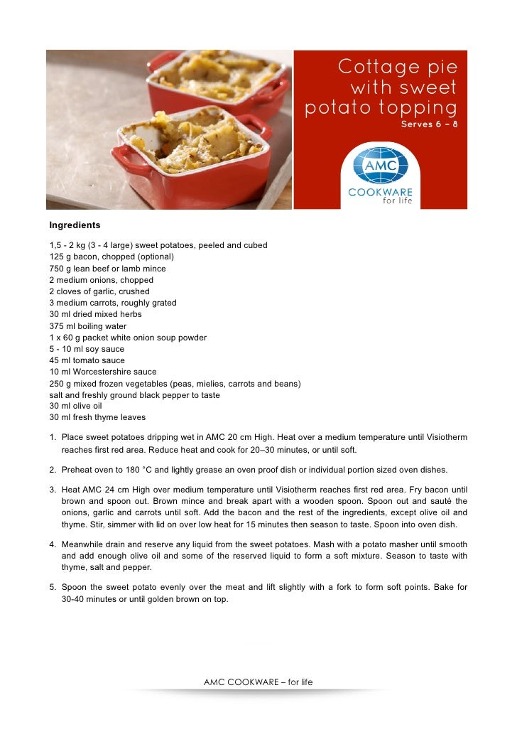 Cottage pie                                                                        with sweet                             ...