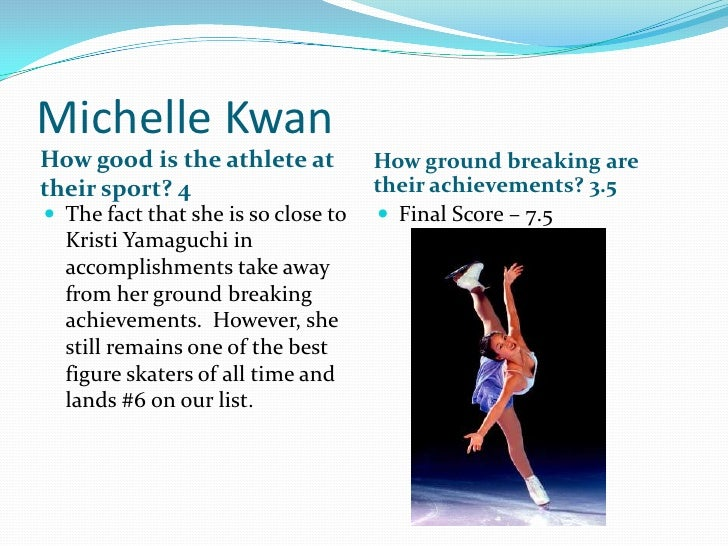 Michelle Kwan<br />How good is the athlete at their sport? 4<br />How ground breaking are their achievements? 3.5<br />The...