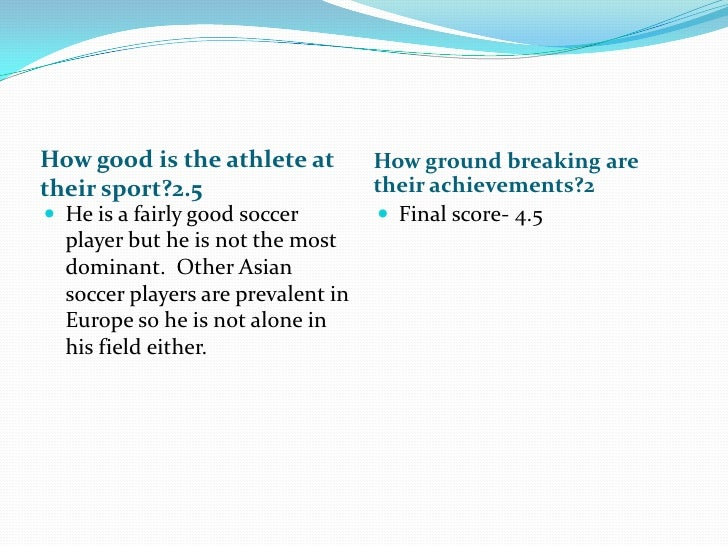 How good is the athlete at their sport?2.5<br />How ground breaking are their achievements?2<br />He is a fairly good socc...