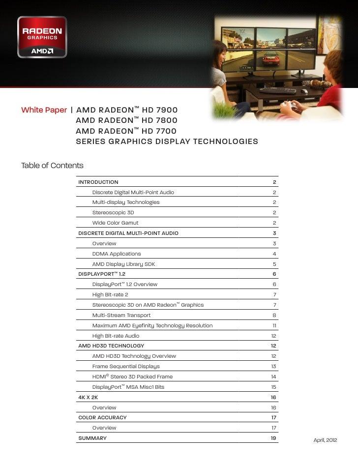 White Paper   | A MD RADEON ™ HD 7900                                      AMD RADEON ™ HD 7800                  AMD RAD...