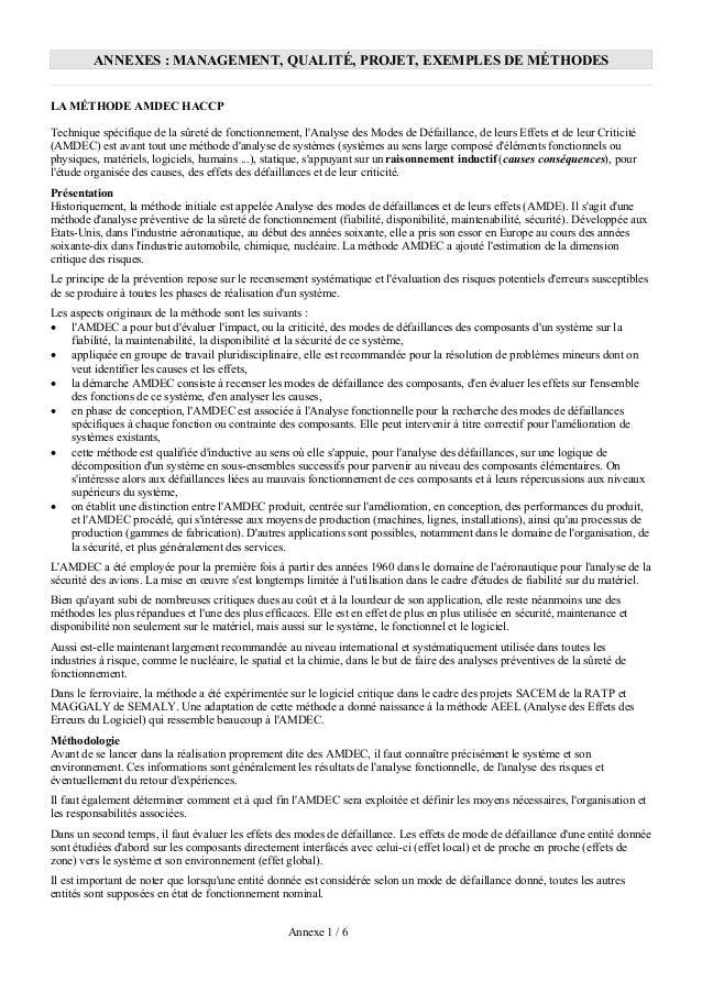 ANNEXES : MANAGEMENT, QUALITÉ, PROJET, EXEMPLES DE MÉTHODESLA MÉTHODE AMDEC HACCPTechnique spécifique de la sûreté de fonc...