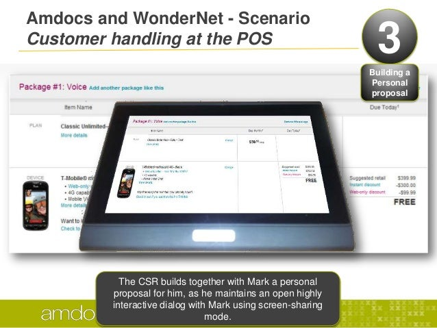 Amdocs and WonderNet - ScenarioCustomer handling at the POS 3Building aPersonalproposalThe CSR can simulate devices functi...