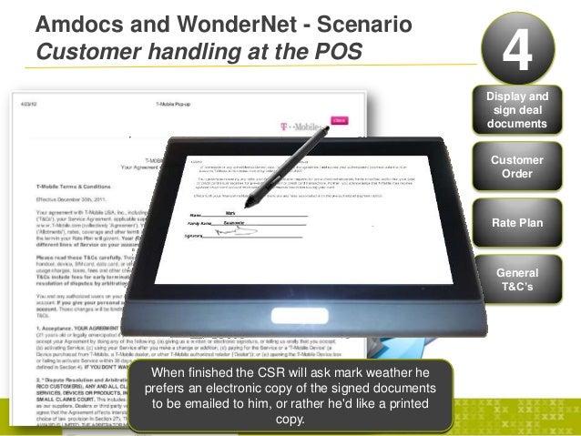Amdocs and WonderNet - ScenarioCustomer handling at the POS 4Display andsign dealdocumentsCustomerOrderRate PlanGeneralT&C...