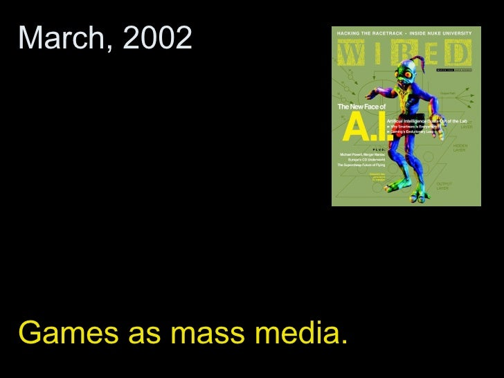 Games as mass media. March, 2002