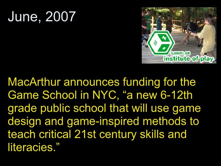 """MacArthur announces funding for the Game School in NYC, """"a new 6-12th grade public school that will use game design and ga..."""
