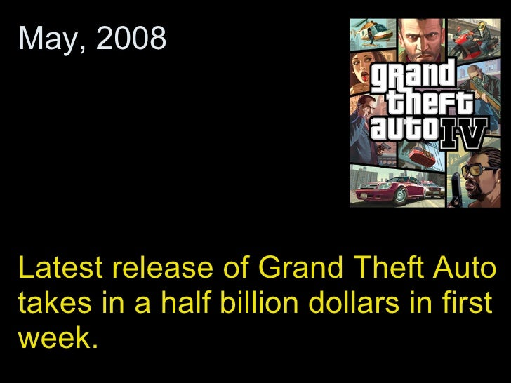 Latest release of Grand Theft Auto takes in a half billion dollars in first week.  May, 2008