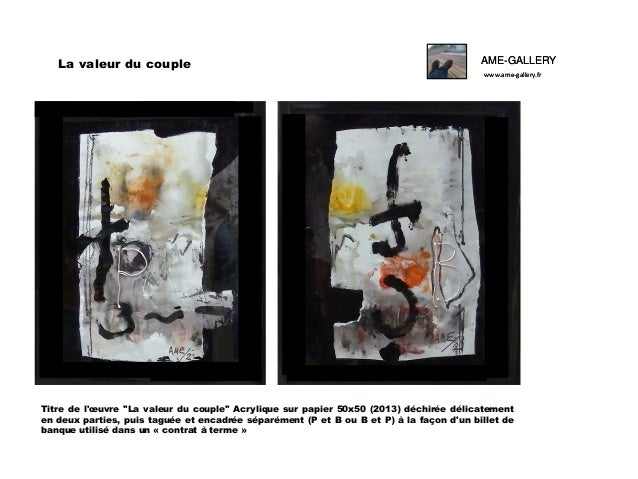 """La valeur du couple  AME-GALLERY www.ame-gallery.fr  Titre de l'œuvre """"La valeur du couple"""" Acrylique sur papier 50x50 (20..."""