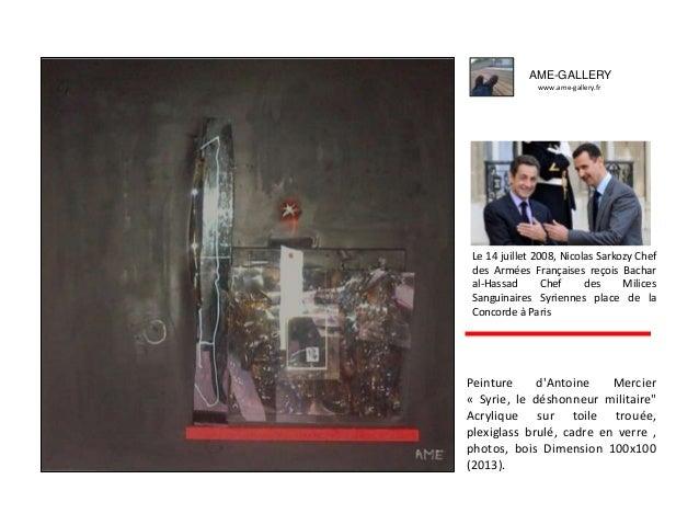 """Peinture d'Antoine Mercier « Syrie, le déshonneur militaire"""" Acrylique sur toile trouée, plexiglass brulé, cadre en verre ..."""
