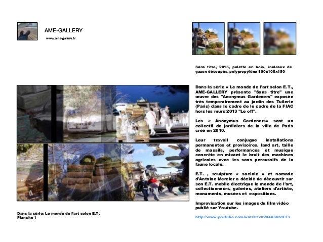 AME-GALLERY www.ame-gallery.fr  F Sans titre, 2013, palette en bois, rouleaux de gazon découpés, polypropylène 100x100x150...