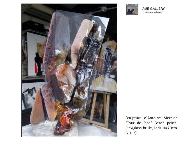 """Sculpture d'Antoine Mercier """"Tour de Pise"""" Béton peint, Plexiglass brulé, leds H=70cm (2012). AME-GALLERY www.ame-gallery...."""