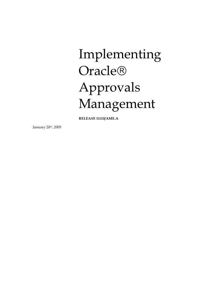 Implementing                     Oracle                     Approvals                     Management                     ...