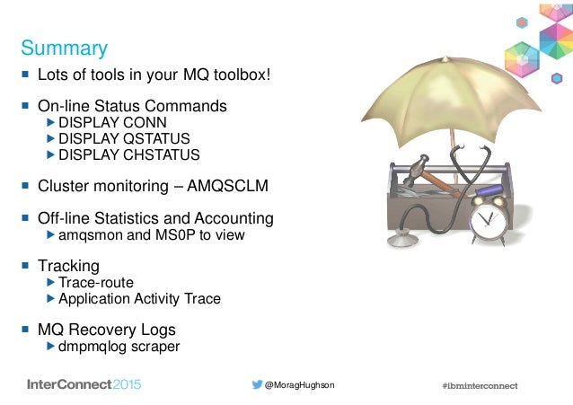@MoragHughson Summary Lots of tools in your MQ toolbox! On-line Status Commands DISPLAY CONN DISPLAY QSTATUS DISPLAY CHSTA...
