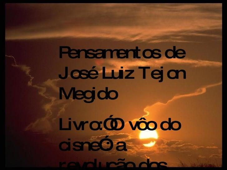 """Pensamentos de José Luiz Tejon Megido Livro:""""O vôo do cisne"""": a revolução dos diferentes Ed. Gente"""