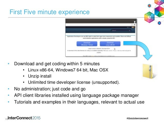 First Five minute experience • Download and get coding within 5 minutes • Linux-x86-64, Windows7 64 bit, Mac OSX • Unzip i...