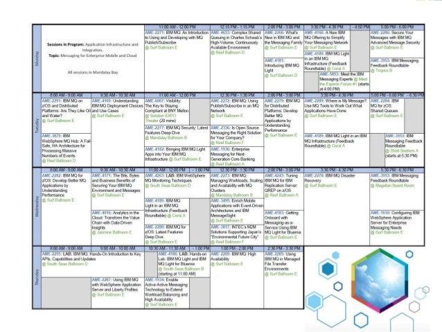 IBM MQ Sessions this week 10:30 - 12:00 13:15 - 14:15 14:30 - 15:30 16:00 - 17:00 17:15 - 18:15 Monday 9:00 - 10:00 10:30 ...