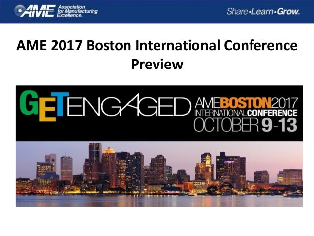 AME 2017 Boston International Conference Preview