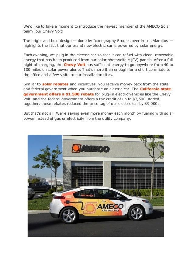 Chevy Volt Tax Credit >> Ameco Solar Chevy Volt Runs On Solar Power