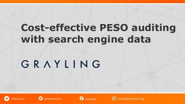 #amecsummit Amecorg amecglobalsummit.org Cost-effective PESO auditing with search engine data @AlexJuddz