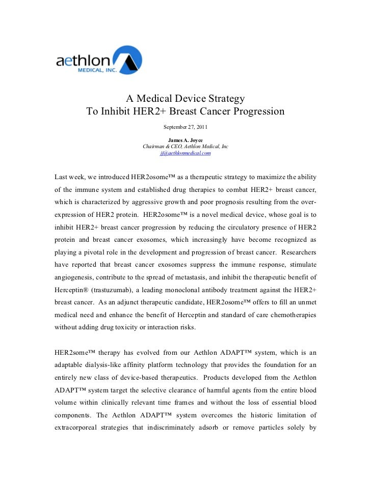 A Medical Device Strategy           To Inhibit HER2+ Breast Cancer Progression                                       Septe...
