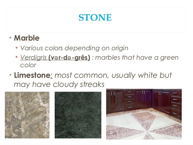 STONE • Terrazzo formed using marble or chipped stones embedded in full concrete. • artistic and very reliable • best for ...