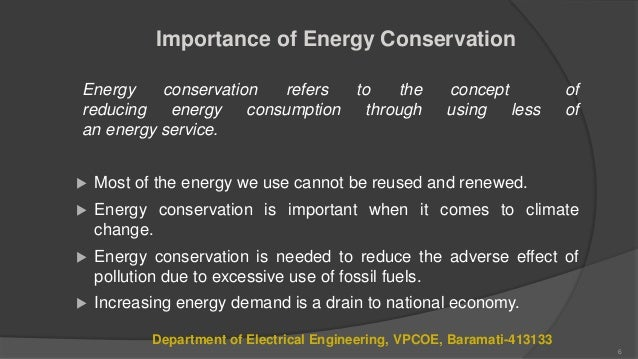 relevance of energy conservation