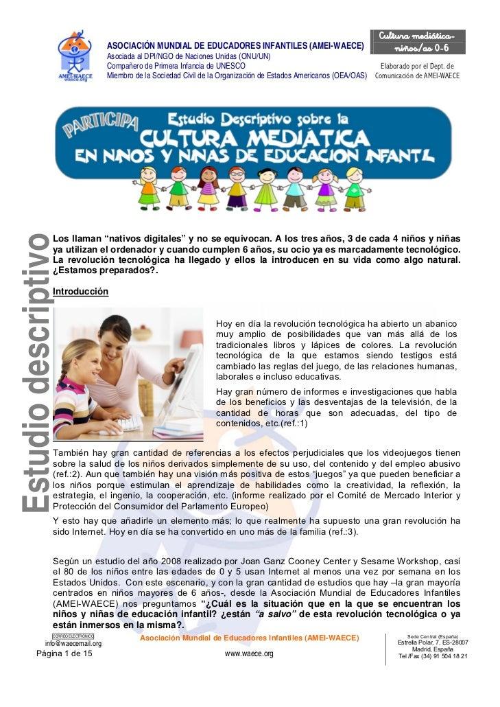 Cultura mediática-                                      ASOCIACIÓN MUNDIAL DE EDUCADORES INFANTILES (AMEI-WAECE)          ...