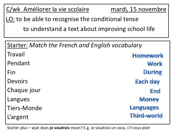 C/wk Améliorer la vie scolaire         mardi, 15 novembreLO: to be able to recognise the conditional tense       to unders...