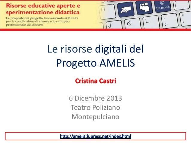 Le risorse digitali del Progetto AMELIS Cristina Castri  6 Dicembre 2013 Teatro Poliziano Montepulciano