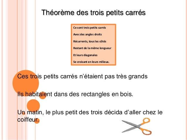 Théorème des trois petits carrés                     Ce sont trois petits carrés                     Avec des angles droit...