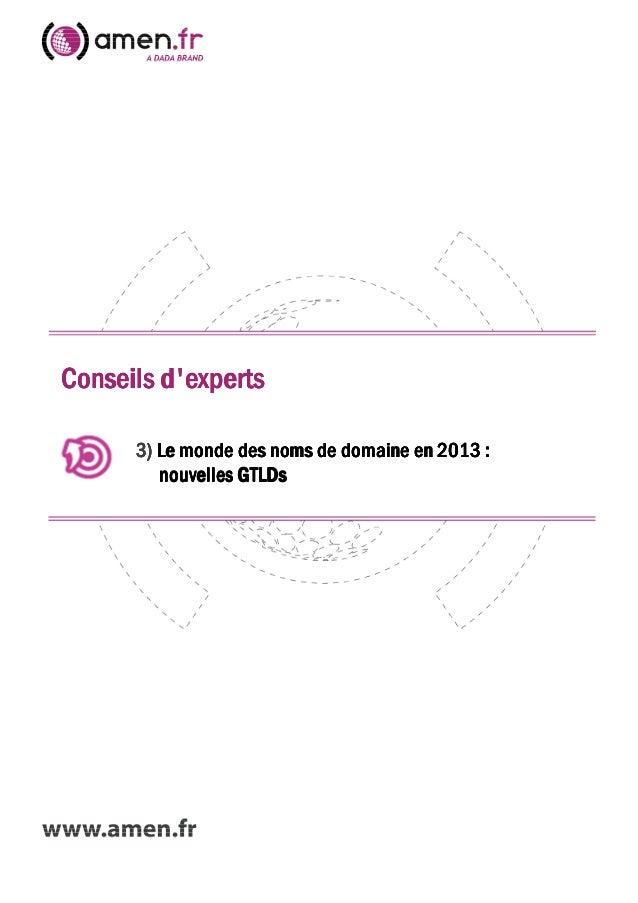 Conseils dexpertsConseils dexpertsConseils dexpertsConseils dexperts3333)))) Le monde des noms de domaine en 2013 :Le mond...