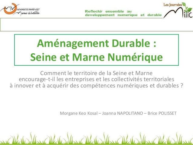 Aménagement Durable : Seine et Marne Numérique Comment le territoire de la Seine et Marne encourage-t-il les entreprises e...