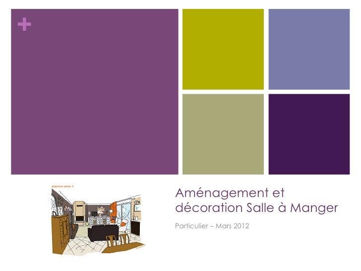 +    Aménagement et    décoration Salle à Manger    Particulier – Mars 2012