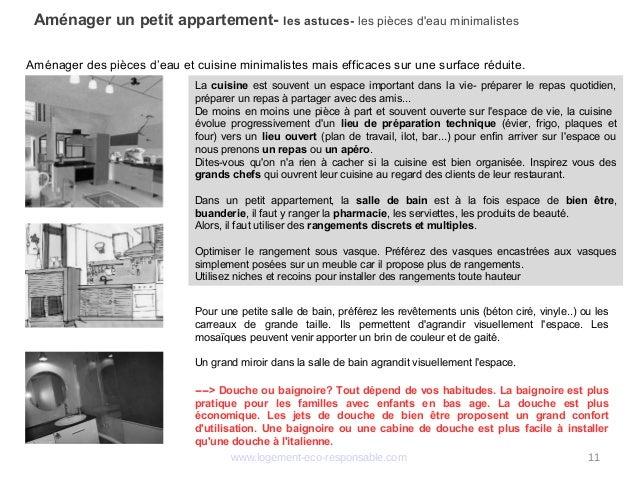 www.logement-eco-responsable.com 11 Aménager un petit appartement- les astuces- les pièces d'eau minimalistes Aménager des...