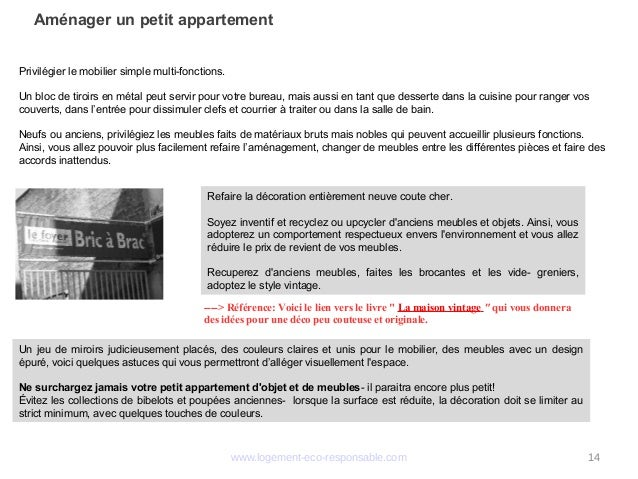 """www.logement-eco-responsable.com 14 Aménager un petit appartement ----> Référence: Voici le lien vers le livre"""" La maison..."""