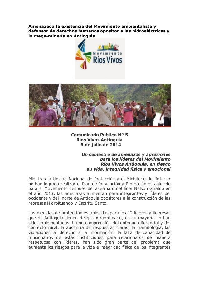 Amenazada la existencia del Movimiento ambientalista y defensor de derechos humanos opositor a las hidroeléctricas y la me...