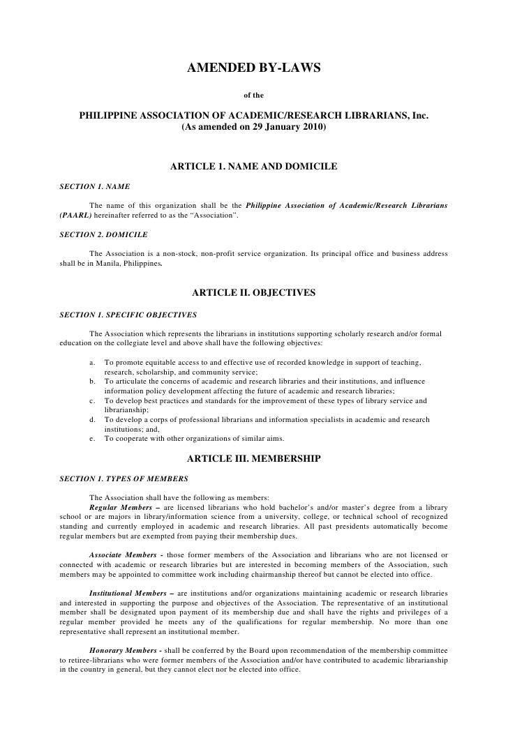 AMENDED BY-LAWS                                                        of the       PHILIPPINE ASSOCIATION OF ACADEMIC/RES...