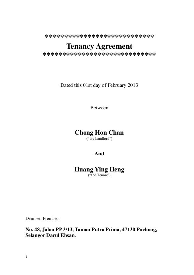 AmendedTenancy Agreement 2013 – Sample Tenancy Contract