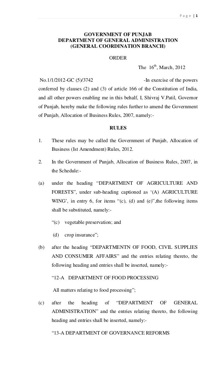 Page  1                 GOVERNMENT OF PUNJAB         DEPARTMENT OF GENERAL ADMINISTRATION             (GENERAL COORDINATIO...