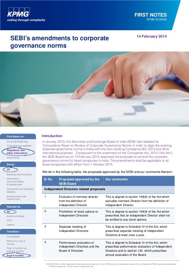 FIRST NOTES KPMG IN INDIA  SEBI's amendments to corporate governance norms  14 February 2014  First Notes on:  Introductio...