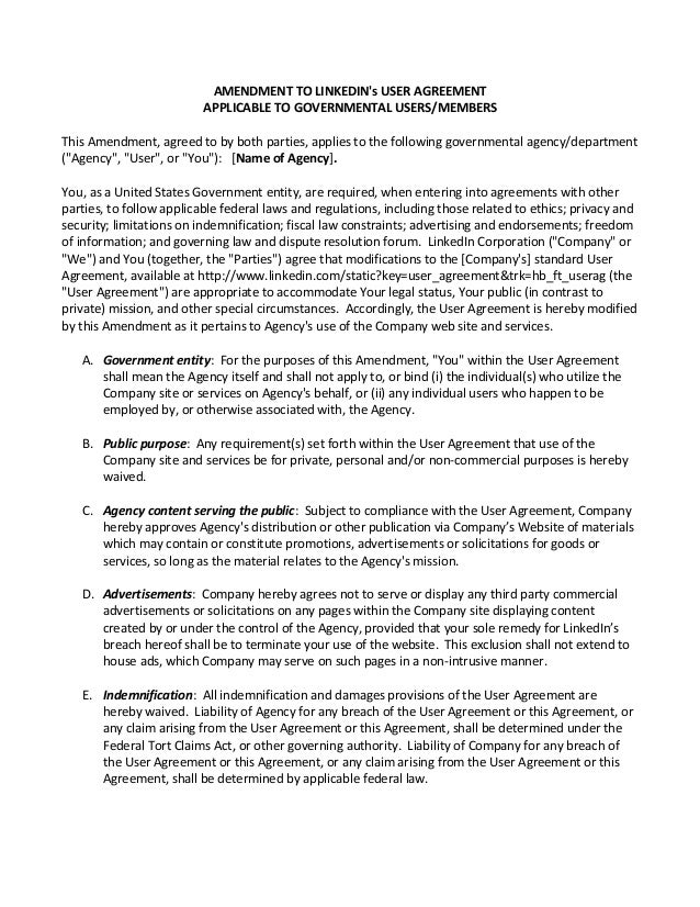 Amendment To Linked In User Agreement Federal 2014 03 27