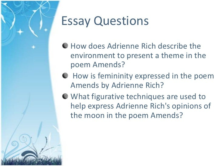 adrienne rich essay Poet and essayist adrienne rich was one of america's foremost public intellectuals a noted writer of prose, rich's numerous essay collections, including a human eye: essays on art in society.