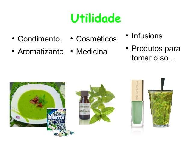Utilidade ●  Condimento.  ●  ●  Aromatizante  ●  Cosméticos  ●  Medicina  ●  Infusions Produtos para tomar o sol...