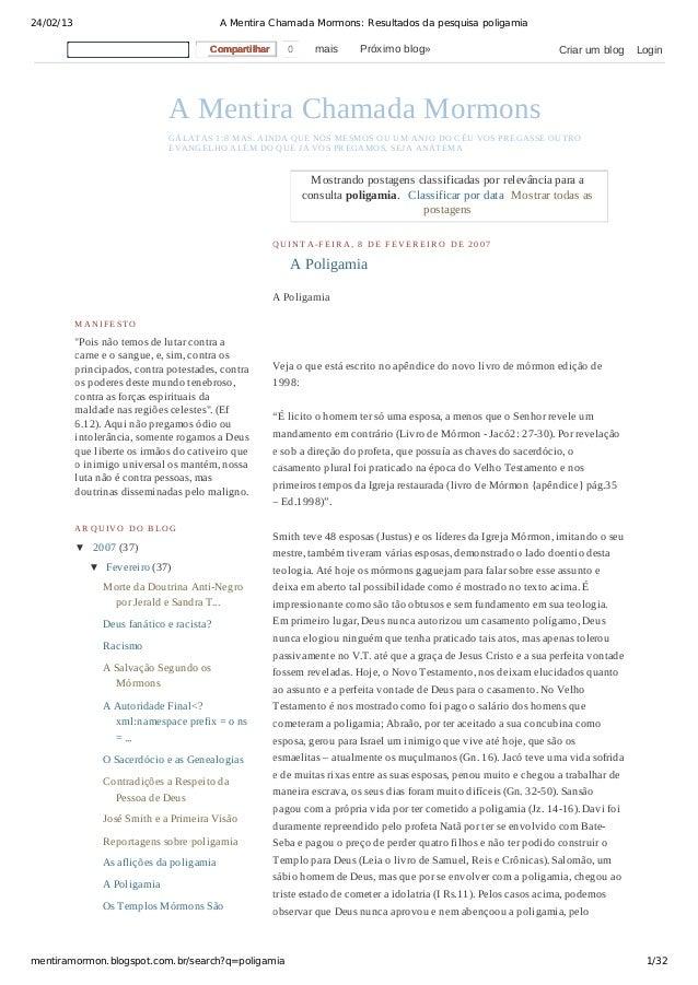 24/02/13                                    A Mentira Chamada Mormons: Resultados da pesquisa poligamia                   ...