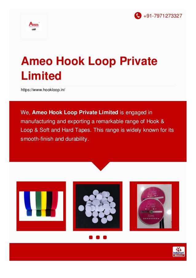 +91-7971273327 Ameo Hook Loop Private Limited https://www.hookloop.in/ We, Ameo Hook Loop Private Limited is engaged in ma...