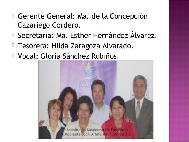  Gerente General: Ma. de la ConcepciónCazariego Cordero. Secretaría: Ma. Esther Hernández Álvarez. Tesorera: Hilda Zara...