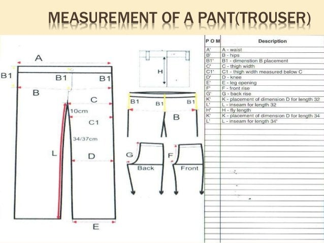 FABRIC CONSUMPTION CALCULATION OF A PANT(TROSUER) Formula =Out seam + allowance x Thigh + allowance x 4/36 x Fabric width ...